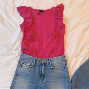 👚Anthropologie Pink Ruffle Tank Top